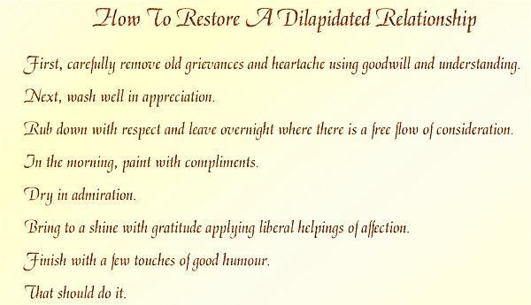 How To Restore A Dilapidated Relationship verse